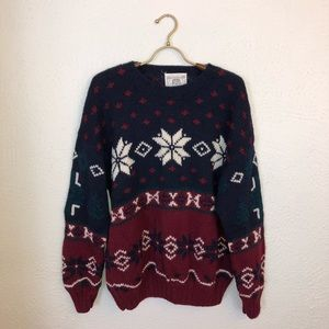 Vintage Wool Hand Knit Ski Winter Sweater